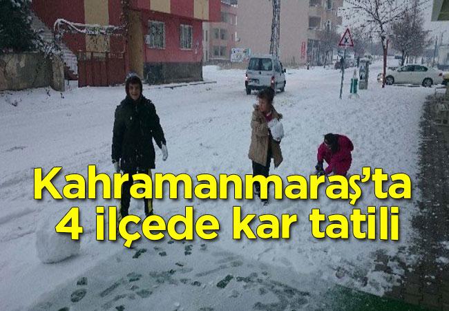 Kahramanmaraş'ta 4 ilçede kar tatili