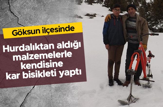 Hurdalıktan aldığı malzemelerle kendisine kar bisikleti yaptı