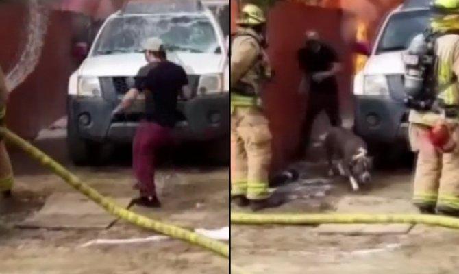 Köpeğini kurtarmak için yanan eve girdi