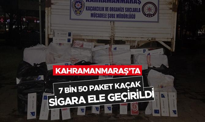 Kahramanmaraş'ta 7 bin 50 paket kaçak sigara ele geçirildi