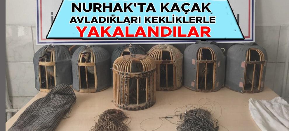 Nurhak'ta kaçak avladıkları kekliklerle yakalandılar
