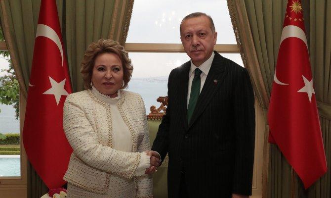 Cumhurbaşkanı Erdoğan Rusya Federasyon Konseyi Başkanını kabul etti