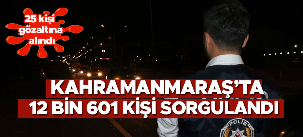 Kahramanmaraş'ta 12 bin 601 kişi sorgulandı