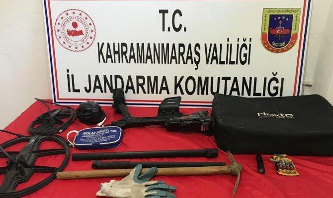 Kahramanmaraş'ta define avcıları  suç aletleriyle birlikte yakalandı