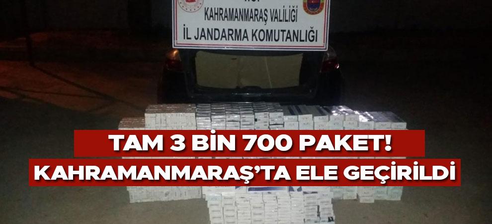 Kahramanmaraş'ta 3 bin 700 adet  kaçak sigara ele geçirildi