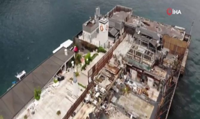Özbek'in haciz işlemi başlattığı Galatasaray Adası havadan görüntülendi