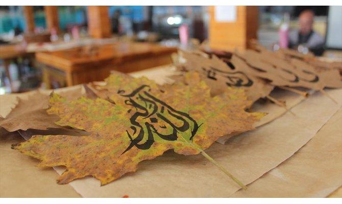 Sonbahar yaprakları 'hat çalışması' ile sanat eserine dönüşüyor