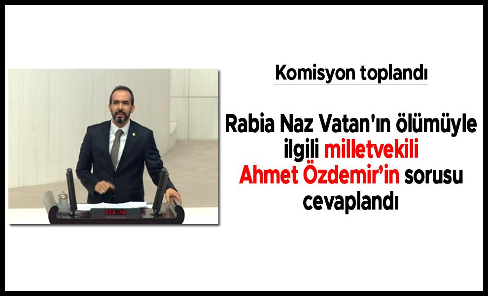 Rabia Naz Vatan'ın ölümüyle ilgili milletvekili Ahmet Özdemir'in sorusu cevaplandı