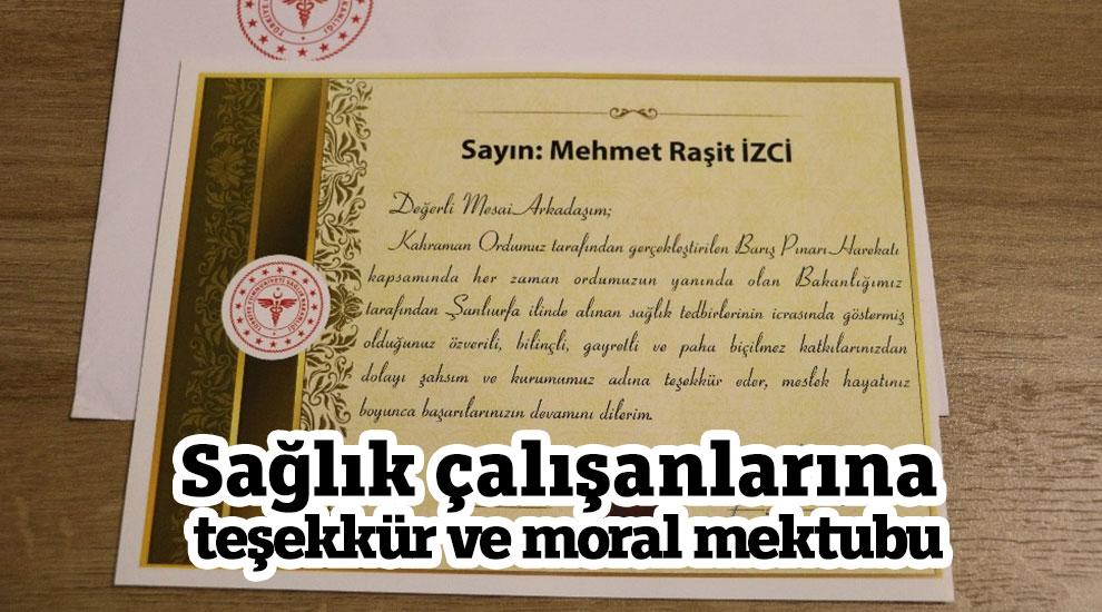 Sağlık çalışanlarına teşekkür ve moral mektubu