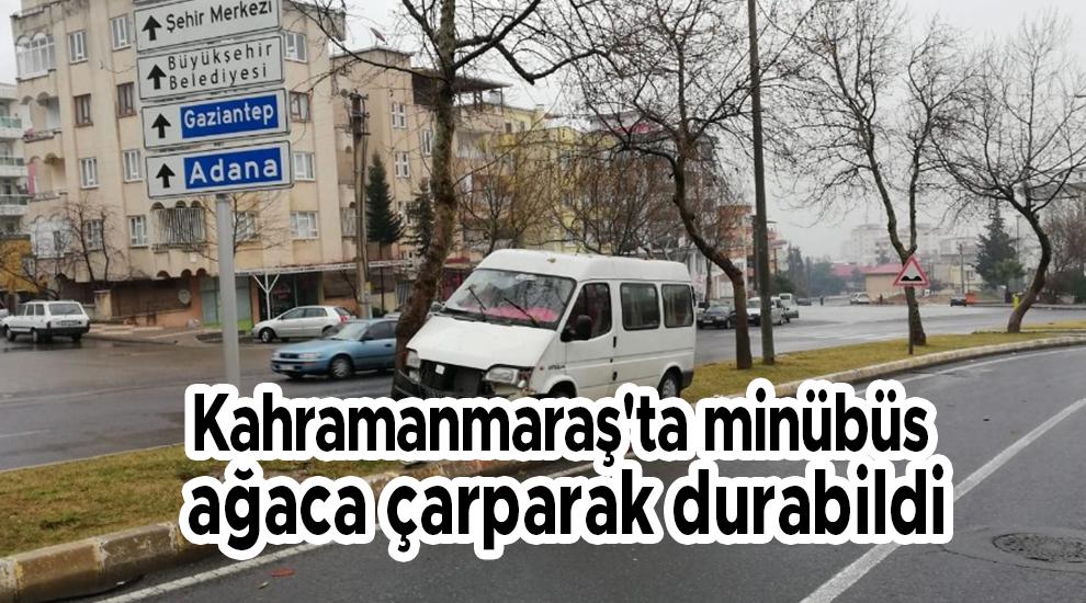 Kahramanmaraş'ta minübüs ağaca çarparak durabildi