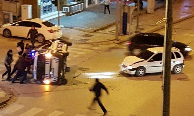 Işık ihlali yaptı polis aracını böyle devirdi