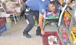 Elbistan'da kaçak sigara satan iş yerlerine operasyon yapıldı