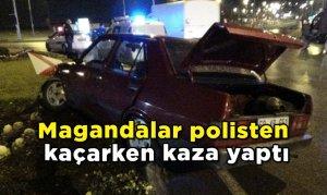 Magandalar polisten kaçarken kaza yaptı