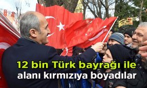 12 bin Türk bayrağı ile alanı kırmızıya boyadılar