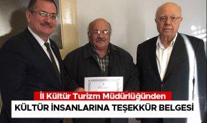 İl Kültür Turizm Müdürlüğünden Kültür İnsanlarına Teşekkür Belgesi