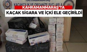 Kahramanmaraş'ta kaçak sigara ve içki ele geçirildi
