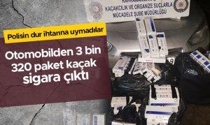 Polisten kaçan otomobilden 3 bin 320 paket kaçak sigara çıktı