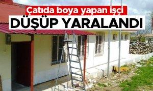 Pazarcık'ta aile sağlığı merkezinin çatısından düşüp yaralandı