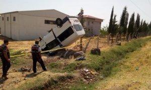 Pazarcık'ta ailesinden izinsiz aldığı minibüsle takla attı: 1 ölü, 4 yaralı