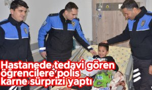 Hastanede tedavi gören öğrencilere polis karne sürprizi yaptı